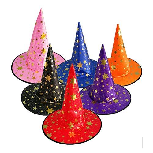 NUOBESTY Hexenhüte Sternzauberer Hut für Kinder Halloween Kostüm Cosplay Hexenzubehör 6 - 6 Pack Kostüm