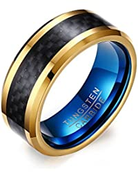 VNOX 8mm Men's Tungsten Carbide Wedding Engagement Band Ring Black Blue Gold
