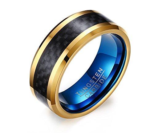 Vnox 8mm Herren Hartmetall Hochzeit Engagement Band Ring Schwarz Blau Gold - Gold Herren Versprechen Ring
