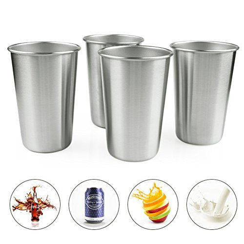 4-Packs Edelstahl Pint Becher 16 oz Metal Drawing Steel Cup 304 Food Grade Unbreakable Metal Fashion (Kostüme Größe Tall)