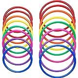 Hestya 16 Piezas de Anillos de Lanzamiento de Plástico Juegos de Práctica de Velocidad y Agilidad, Carnaval, Jardín, Patio, Juegos al Aire Libre, Juego de Anillos de Lanzamiento de Niños