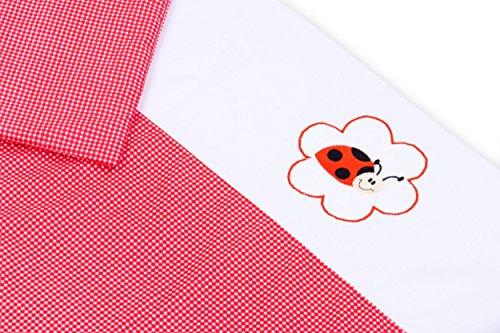 Amilian® Baby Bettwäsche Design: Pepita Rot + MARIENKÄFER, 80x80 cm + 35x40 cm (2 tlg.) (Rote Baby-bettwäsche)