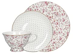 Idea Regalo - Katie Alice - Servizio da tè in porcellana inglese, motivo floreale, colore: Bianco