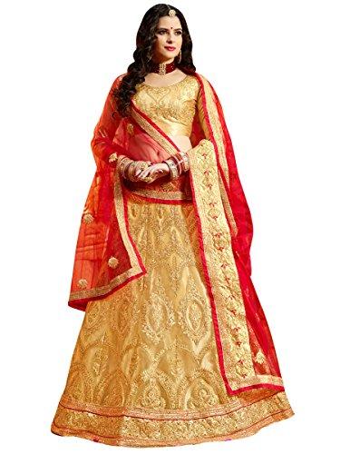 Women'S Beige Color Embroidered Lehenga