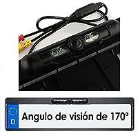 Amzdeal Porta matriculas con cámara de marcha atrás Cámara matrícula de visión trasera 170 grados de visión, impermeable y con 4 LEDs para visión nocturna