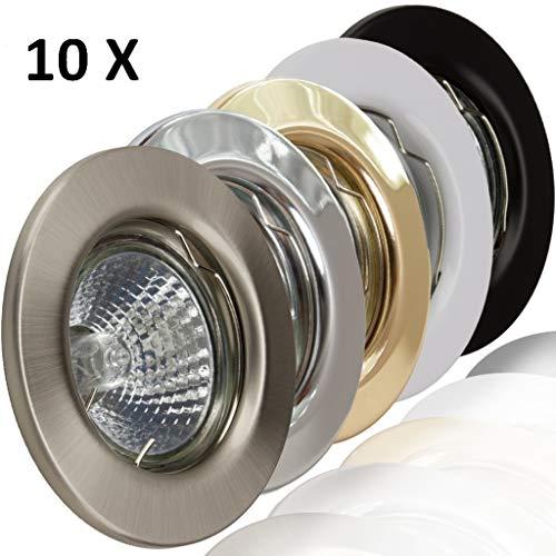 10x Deckeneinbaustrahler Deckeneinbauleuchte Einbaurahmen Einbaustrahler Einbauleuchte Einbauspot Einbauring Metall LED Halogen GU10 MR16 (Weiß) -