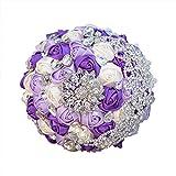 Grande spilla bouquet di rose di raso e frizzante argento spille matrimonio forniture Purple White