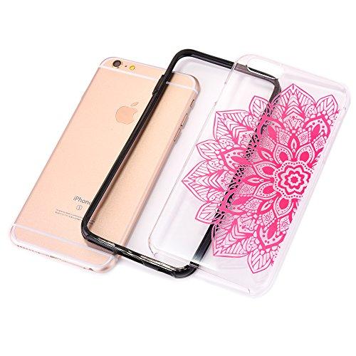 iPhone 8 Hülle, CLTPY iPhone 7 Bunt Mandala Muster Handytasche 2 in 1 TPU Rahmen mit Hart Plastik Rückdeckel Schutzhülle für Apple iPhone 7/8 + 1 x Free Stylus - Blau Rose Rosa 1