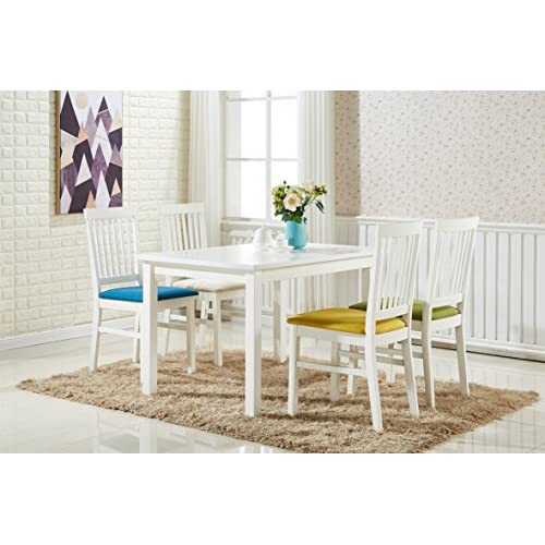 P&N Homewares® Florence Dining Table and 4 Chairs Set Multi Colour Chair Seats and White Wooden Table and Chair Set