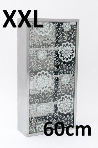 Unbekannt 60cm Medizinschrank Arzneischrank Edelstahl matt Glas XXL Hausapotheke Blumen