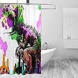 COOSUN Denkende Mann Regenbogen-Druck-Duschvorhang, Polyester-Gewebe Duschvorhang, 66 x 72-inch 66x72 Mehrfarbig