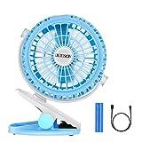 DUTISON Ventilador USB de Clip, Viento Fuerte Ventilador de Mesa Portátil con 360 °Rotación Ajustable para Hogar,Oficina, Viaje (Azul)
