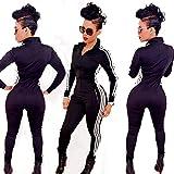 Tomwell Damen Jumpsuit Sport Jogging Anzug Trainingsanzug Overall Lange Ärmel Reißverschluss Bodycon Romper
