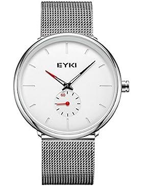 Alienwork Quarz Armbanduhr Ultra-flach Uhr Herren Uhren Damen Zeitloses Design Metall weiss silber YH.D5003L-02