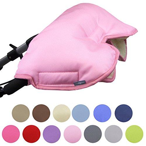 BAMBINIWELT universaler Muff/Handwärmer für Kinderwagen, Buggy, Jogger mit Wolle, UNI (rosa)