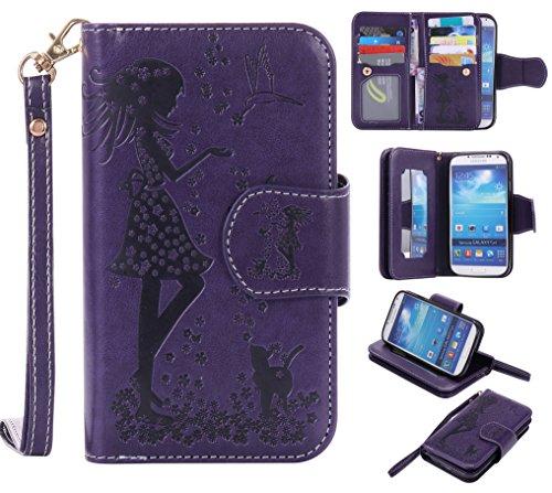 COZY HUT Custodia Samsung Galaxy S4, Samsung Galaxy S4 Flip Custodia Cover Case, Ragazza Farfalle Fiori Gatto Modello Creative Disegno Stampa Stile del Libro Portafoglio Cover Case Strap in