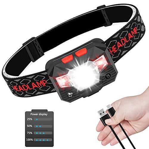 Guiseapue LED USB Wiederaufladbare Stirnlampe Kopflampe mit Energieanzeige Perfekt fürs Joggen, Laufen, Gehen, Campen, Lesen, Angeln, für Kinder und mehr