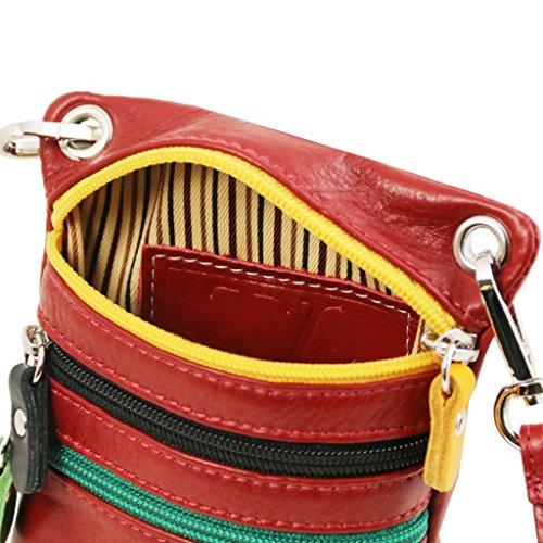 Tuscany Leather TL Bag Tracollina in pelle morbida Cognac Magenta