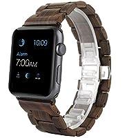 Apple Watch Band, ANKUR® ébano madera recambio Correa muñeca banda Apple Watch & deporte & edición iWatch con adaptador de cierre (42MM, BROWN)