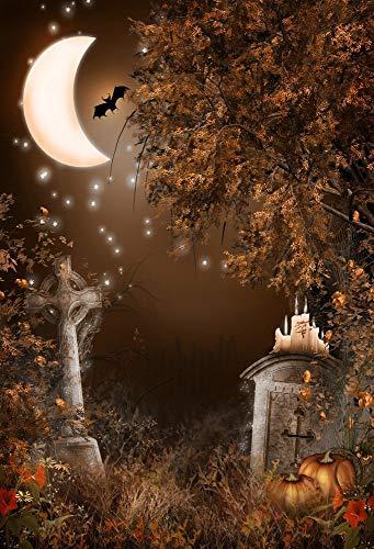 rund Fotografie Steintafel Kreuz Gruselige Kerze Kürbisse Mond Fledermaus Elf Szene Halloween Kinder Erwachsene Portraits Hintergrund 1,5(B) x2,2(H) Fotostudio Requisiten ()