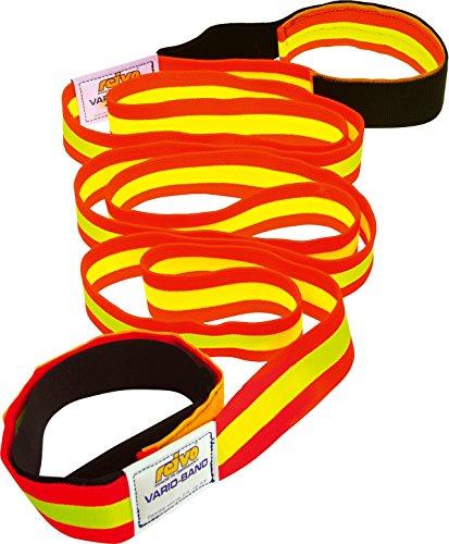Reivo Band Kurz 4 m mit Schlaufen | Das original elastische Fitnessband, Textilband, Gymnastikband, Widerstandsband | L: 4 m, dehnbar bis 8 m | Polyester-Elastan | Rot-Gelb | Markenqualität
