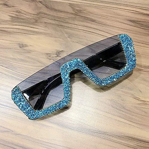 LKVNHP Square Luxury Sonnenbrille Frauen markendesigner Damen übergroßen Strass Sonnenbrille männer halbbild Brillen für weibliche uv400blau