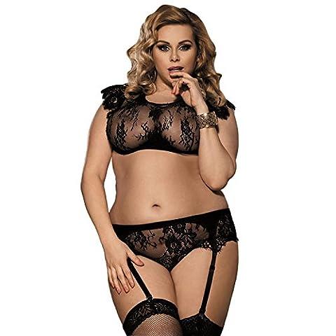 Women Plus Size Sexy Lingerie Hot Garter Transparent soutien-gorge Ensemble de pyjamas Black tentation , XL
