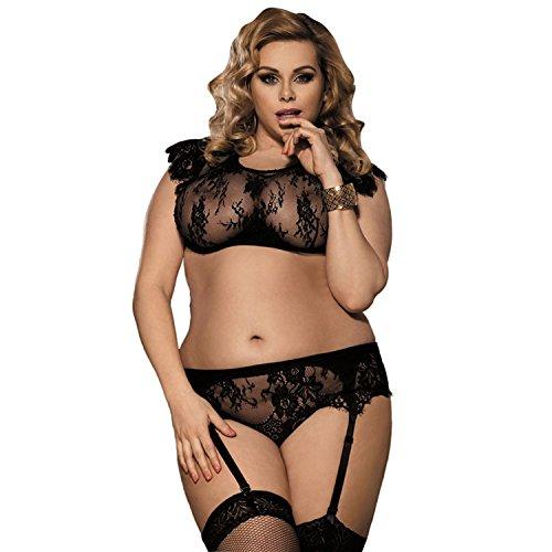 Frauen Plus Size Sexy Dessous Hot Strumpfband Transparente BH Sleepwear Set Schwarz Versuchung , (Outfits Für Size Plus Mädchen Sexy)