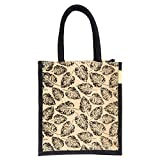 H&B Unisex Multicolour Jute Tote Bag (11x9x6 Inches)