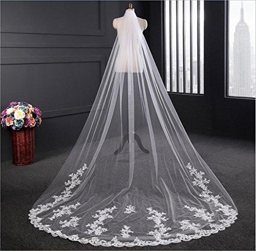 Veil sposa velo la cattedrale 3 metri trailing matrimonio pizzo fila di fiori soft rete con pettine puro bianco/bianco avorio, ivory
