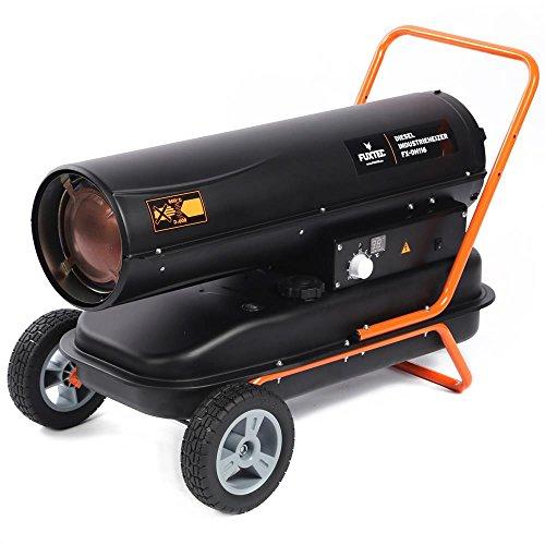 FUXTEC Diesel Heizgebläse DH116 - Heizleistung bis 30 kW, 720 m³/h Gebläseleistung, 38 l Tank, elektrische Zündung, regulierbares Thermostat, digitales Display, Betriebsdauer bis zu 13 Stunden