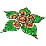 Curiocity Handicraft Designer Rangoli ,Green Color - 10 Inch Dia - 6 Piece Set - Packed In Sturdy Crystal Box
