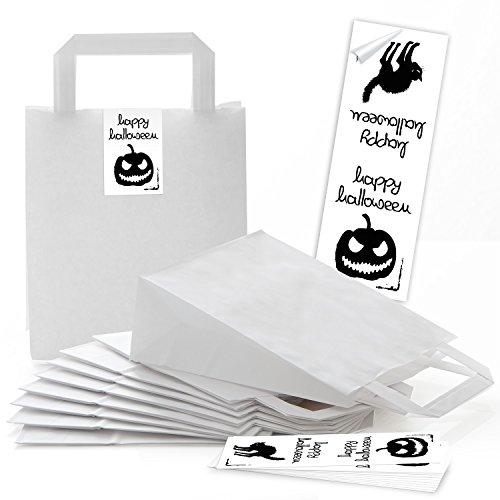10 kleine weiße Geschenktüte Geschenktasche Tüte Verpackung Süßigkeiten 18 x 8 x 22 cm kleine Papiertaschen + 10 schwarz-weiß Halloween-Aufkleber Kürbis Kindergeschenke verpacken