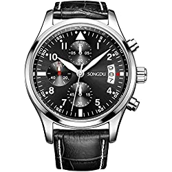 SONGDU Men's Chronograph Multi-Function Quartz Watch wristwatch With Black Leather Strap and Black Dial DM-9202-P01EYA--Ideal and Celebrative Gift for Christmas and New Year Sales