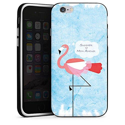 Apple iPhone X Silikon Hülle Case Schutzhülle Flamingo Sommer Pink Silikon Case schwarz / weiß