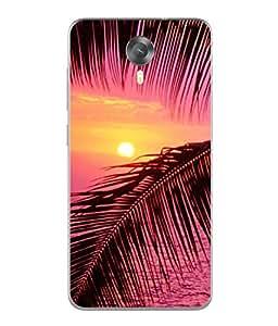PrintVisa Designer Back Case Cover for Micromax Canvas Xpress 2 E313 (Beautiful Sunrise Evening Ocean Beach Coast Illustration)