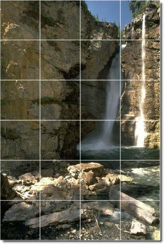 CASCADAS FOTO BALDOSA CERAMICA MURAL 3  32X 48CM CON (24) 8X 8AZULEJOS DE CERAMICA