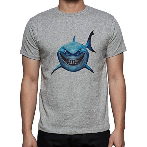 Big Blue Shark Face Finding Nemo Bruce Herren T-Shirt Grau