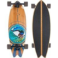 JUCKER HAWAII PAU Hana Monopatín Cruiser Longboard - Black Trucks - Surfcruiser Fishtail Tabla Larga de Bambú