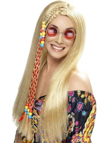 Women's Long Blonde Hippy Wig with braids and beads.