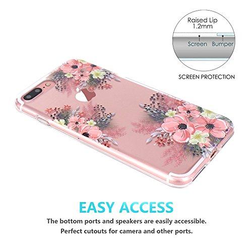 Coque iPhone 7 Plus, Coque iPhone 8 Plus, JIAXIUFEN TPU Coque Silicone Étui Housse Protecteur Fleur Floral - Red Rose Pink Blossom
