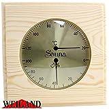 Weigand Sauna Thermometer Hygrometer'PUU' I Nachjustierbare Kombination I Klimamesser in schönem Holzrahmen I Saunazubehör