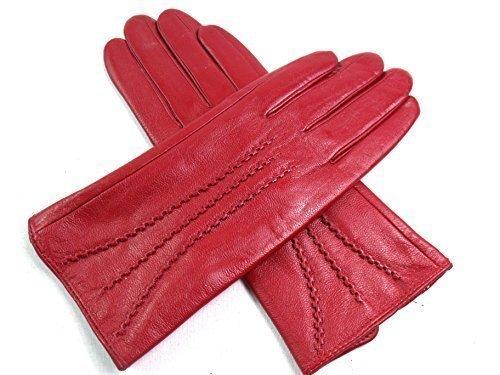 Damen Premium Qualität super weich Leder Handschuhe Kunstpelz Futter Streifen-Detail enge Passform - Rot, S (Rote Handschuhe Leder)