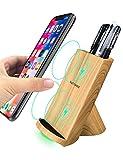 Qi Ladegerät Kabellos, Qi Ladegerät für iPhone XS/XS Max/XR/ X/ 8/8 Plus, kabelloses Induktive Ladestation Schnellladestation für Samsung Galaxy S9 S9+ S8 S8 Plus S7 S7edge Note 9/8/5 usw Holz