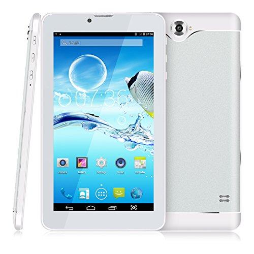 7 Zoll 3G Tablet PC,512 RAM+8G ROM,Dual-SIM,IPS HD Display 1024x600,Quad Core CPU,Android 4.4.2,WIFI WLAN Bluetooth,4 Farben zur Wahl Silber von QIMAOO (Gsm 7-zoll-tablet-telefon)