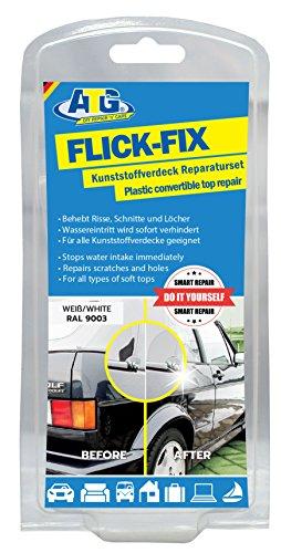 ATG Flick Fix  Kunststoff-Verdeck Teichfolien Pool Reparaturset, weiß: Ausbesserung von Rissen, Schnitten und Löchern für Cabrio, Planen, Kunststoffabdeckungen - der Kleber lässt sich auch unter Wasser verarbeiten (z.B.Teichfolien aus Weich-PVC)