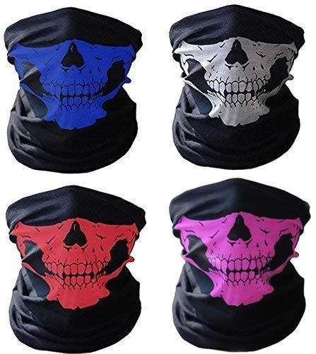 Ski Kostüm Maske - 4x Premium Multifunktionstuch | Sturmmaske | Bandana | Schlauchtuch | Halstuch mit Totenkopf- Skelettmasken für Motorrad Fahrrad Ski Paintball Gamer Karneval Kostüm Skull Maske ... (Weiss/Rot/Lila/Blau)
