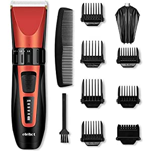 Hair Clippers Set Hair Trimmer Cordless Cutting with LCD Display, Rechargeable,Ceramic Blades for Men & Women (Bright Red)
