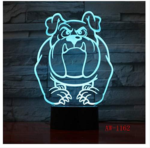 Wanjuna 3D Nachtlicht 3D Visuelle Lampe Bulldog Pudel Jack Russell Terrier Rottweiler Led Kinder Nachtlicht Hund Licht Lampe -