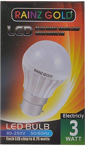 RAINZ GOLD Microfiber LED Bulb Pack of 10 – (White, 3 Watts)